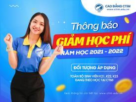 Cao đẳng CTIM thông báo giảm học phí HK1 năm học 2021 - 2022